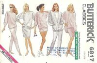 Butterick 6817 Sewing Pattern Misses' Jacket Top Shorts Pants Skirt Size XS-S-M