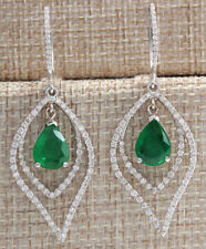 6.98 Carat Natural Emerald 14K White Gold Diamond Earrings