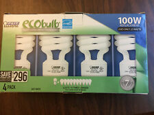 LOT OF 4 ECOBULB CFL 100W EQUIV. CFL BULBS, FEIT ELEC., USES ONLY 23 WATTS, NEW