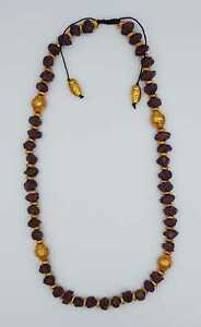 Beautiful Quality Rough Natural Ruby Stone Beads Necklace with Gold Plated Beads
