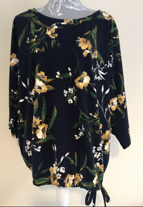 Ladies Navy Blue Yellow And Green Floral Tie Hem Blouse By George Size 24