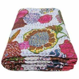 Indian Vintage Handmade Kantha Cotton Bedspread Throw Twin Blanket Floral Quilt