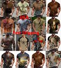 Men T-shirt Fashion Graphic Fitness Muscle Short Sleeve Vintage Tee Active Wear