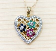 GENUINE EMERALD SAPPHIRE RUBY STONE & DIAMOND FLOWER HEART PENDANT NECKLACE NEW