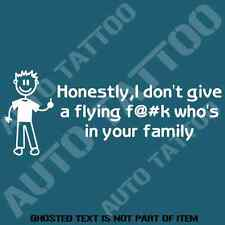 DON'T CARE WHO'S IN YOUR FAMILY DECAL STICKER FUNNY NOVELTY BUMPER STICKERS CAR
