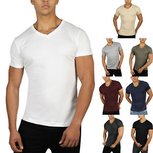 New Mens Slim Fit V Neck T Shirt Muscle Top Gym Short Sleeve Plain 100% Cotton
