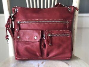 FOSSIL Medium Red Leather Hobo Convertible Shoulder Bag Crossbody Messenger