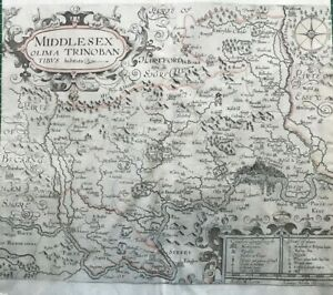 1607 Antique Hole / Norden County Map of Middlesex - from Camden's Britannia