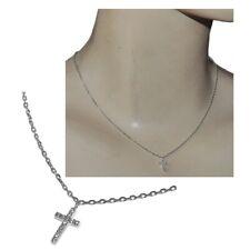 Collier en argent massif 925 chaîne et pendentif petite croix zirconium bijou