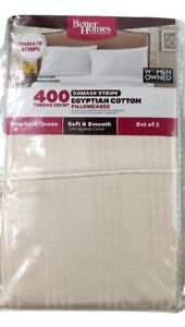 2 Pack NWT Better Homes Gardens 400 Egyptian Cotton Damask Stripes Pillow Cases