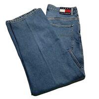 Vintage 90's Tommy Hilfiger Men's Size 34 X 32 Big Flag Logo Denim Jeans