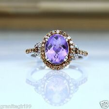 2.18cts Amethyst & Diamond Halo Engagment Ring 10k White Yellow Gold Gift Boxed