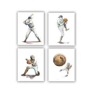 Baseball art print Set 4 prints 8x10 Sport artwork Batter Catcher Pitcher