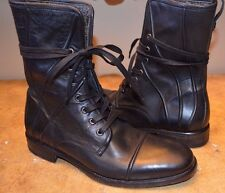 MSRP $1000 John Varvatos Men's Black Leather Lace-up Boots, US 8/8.5