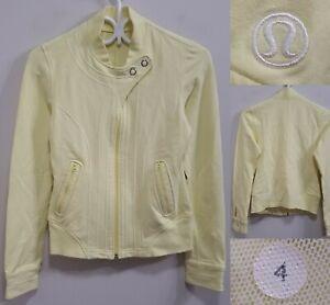 Lululemon Yellow Zipper Jacket Size 4 XS Sweater Collar White Yoga Snap Button