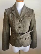 NWT B. Moss Women's Brown Sparkle Multi Color Career Belted Blazer Jacket Sz 2