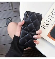 3D Grids Case for iPhone Xs Max X 8 7 6 Sheepskin Card Pocket Leather Back Cover
