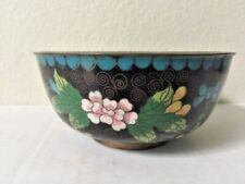 Asian Antiques, Bowls, Cloisonne, Black, Pink & Blue Flowers, 1900-1940, China