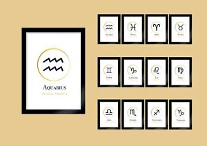 Zodiac Sign Print Astronomy Wall Art Astrology Spiritual Horoscope White/Gold