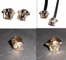 2 GIANNI VERSACE GOLD MEDUSA HEAD METAL CORD ENDS-HOODIES,BAGS,SHOE LACES-NOS