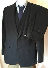 Hardy Amies 3 piece two button navy pinstriped wool suit W32 L35