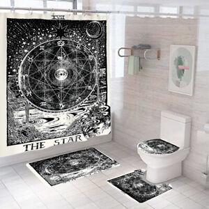 The Star Bathroom Rug Set Shower Curtain Thick Non Slip Toilet Lid Cover Bathmat