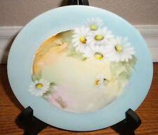 "Vintage Flat Plate Porcelain Blue White Daisy Flowers 6 3/4"""