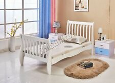 WestWood 3ft Pine Single Wooden Bed Frame Sleigh - White