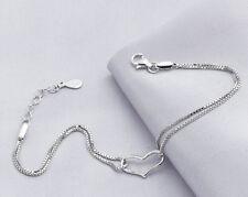 925 Sterling Silver Heart Bracelet Snake Bone Chain Bangle Charming Jewelry Gift