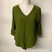 Oh My Gauze Green Asymmetrical Hem Lagenlook Boho Top Shirt Womens 1 S/M 6-10