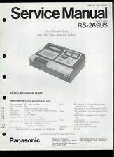 Orig Factory Technics/Panasonic RS-269US Stereo Cassette Deck Service Manual