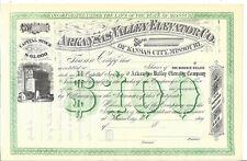 New listing Arkansas Valley Elevator Co (Kansas City,Mo).1870'S Unissued Stock Certificate