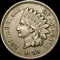 1859 Copper Nickel Indian Cent Penny ---- TYPE COIN ----  #W535
