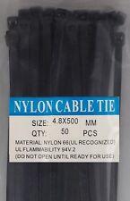 "20"" Black Nylon Cable Tie Zip Heavy Duty Plastic Wire - Pack of 50pcs"
