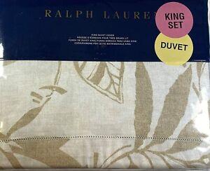 Ralph Lauren King Cecily Palmetto Tonal Floral Duvet Cover Cotton Sateen Tan