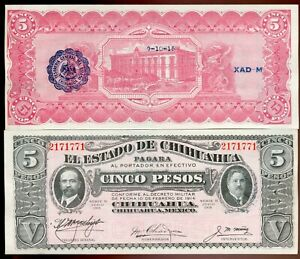 Mexico Chihuahua 1915 5 Pesos Black Seal | Gem Uncirculated | Pick S532A |DS81