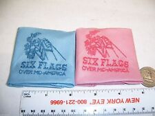 Six Flags Over Mid America Embroidered Handkerchiefs Pink Blue