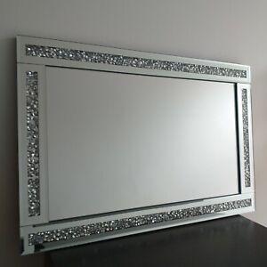 Silver Loose Diamond Wall Mirror Crushed Jewel Dressing Girls Bed room Mirror