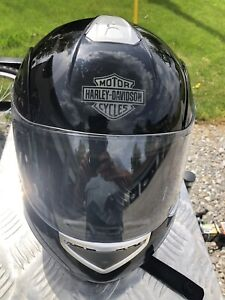 Harley Davidson Black w Gray flames modular full face helmet