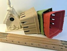 TWELVE - Paper Berry Baskets Gift Containers Crafting Storage Red Green Tan