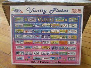White Mountain Jigsaw Puzzles 1000 Pieces Vanity Plates 2003 USA Toys New Sealed