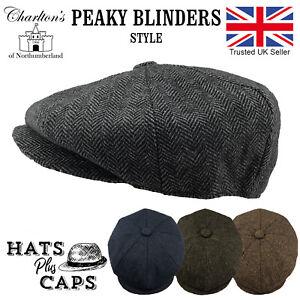 Peaky Blinders Newsboy Gatsby Flat Cap Hat Tweed Herringbone 8 Panel Wool NEW