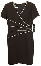 Donna Morgan Petites Brown Dress White Trim Buttons Polyester Womens 4 4P NWT