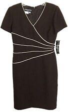 Donna Morgan Petites Brown Dress White Trim Career Wear To Work Womens 4 4P NWT