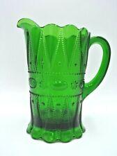"Vintage Antique Green Glass 8"" Pitcher"