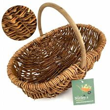Nutley's Beautiful Hand-Made Rustic Willow Garden Trug Basket wicker, small