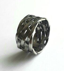 Men's Braided Amulet Ring - Stainless Steel 316L Viking Biker Lattice Jewellery