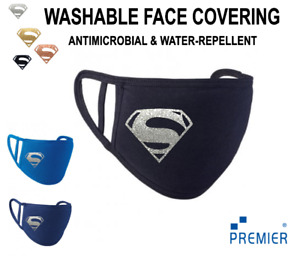 ADULTS YOUTHS Super man Personalised Face Mask Reusable Washable Breathable Gold