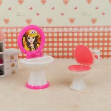 Doll House Dollhouse Furniture Bathroom Set Toilet and Sink for Barbie Doll