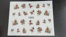 Nail Art Water Transfer Decal Stickers Tan and Red Flowers 1050